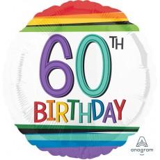 60th Birthday Rainbow Stripes Foil Balloon