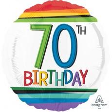 Round 70th Birthday Rainbow Birthday Standard HX Foil Balloon 45cm