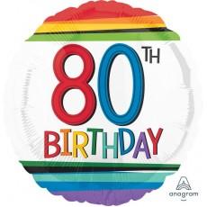 80th Birthday Rainbow Stripes Foil Balloon