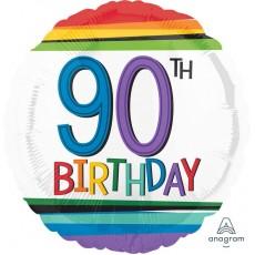 90th Birthday Rainbow Stripes Foil Balloon