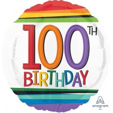 100th Birthday Rainbow Stripes Foil Balloon