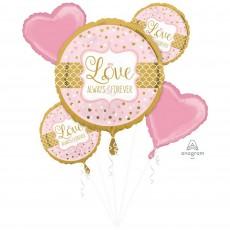 Wedding Sparkling Bouquet Love Always & Forever Foil Balloons 45cm Pack of 5
