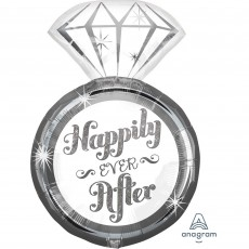Wedding SuperShape Diamond Ring Happily Ever After Shaped Balloon 45cm x 68cm
