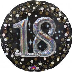 Round 18th Birthday Sparkling Celebration Multi-Balloon Holographic Foil Balloon 91cm