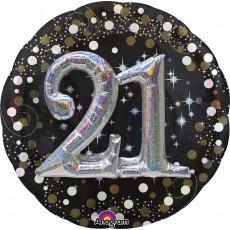 Round 21st Birthday Sparkling Celebration Multi-Balloon Holographic Foil Balloon 91cm
