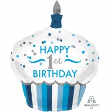 Boy's 1st Birthday Cupcake Boy Foil Balloon