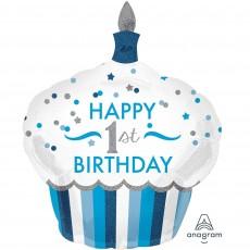 Boy's 1st Birthday SuperShape Holographic Happy 1st Birthday Shaped Balloon 73cm x 91cm