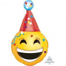 Emoji SuperShape XL Emoticon & Party Hat Shaped Balloon