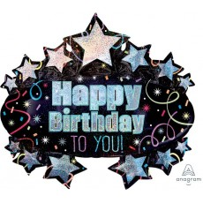 Brilliant Marquee SuperShape Holographic Happy Birthday to You! Shaped Balloon 78cm x 71cm