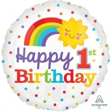 Girl's 1st Birthday Rainbow & Sun Foil Balloon