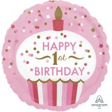 Round Girl's 1st Birthday Standard HX Cupcake Happy 1st Birthday Foil Balloon 45cm