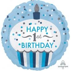 Round Boy's 1st Birthday Standard HX Cupcake Happy 1st Birthday Foil Balloon 45cm