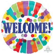 Welcome Dots & Stripes Foil Balloon