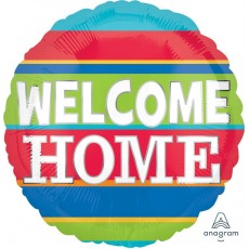 Welcome Party Decorations - Foil Balloon Col Stripes Welcome Home