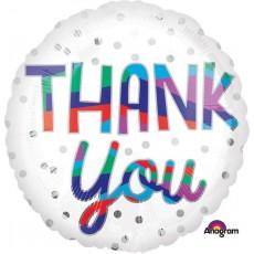 Thank You Standard HX Silver Dots Foil Balloon