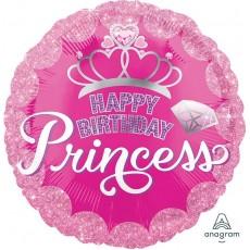 Princess Happy Birthday  Crown & Gems Foil Balloon