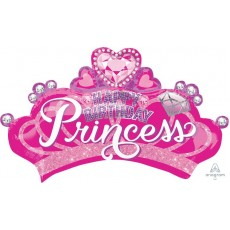Princess Happy Birthday  Crown & Gems Foil Balloon