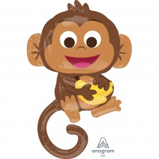 Jungle Animals Happy Monkey Foil Balloon