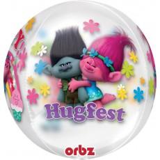 Orbz XL Trolls Clear Shaped Balloon 38cm x 40cm