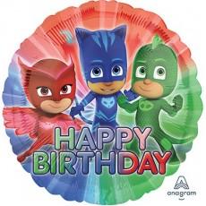Round PJ Masks Standard HX Happy Birthday Foil Balloon 45cm