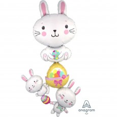 Easter Bunny Stacker & Eggs Foil Balloon
