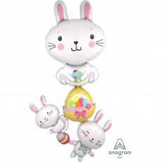 Easter SuperShape Giant Multi-Balloon Bunny Stacker Shaped Balloon 88cm x 154cm