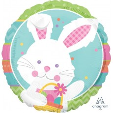 Easter Happy Hop  Bunny Rabbit Foil Balloon