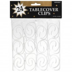 Clear Plastic Tablecloth Clips Pack of 24