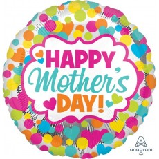 Mother's Day Standard HX Dots & Hearts Foil Balloon