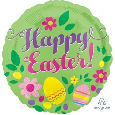Round Standard Green Happy Easter! Foil Balloon 45cm