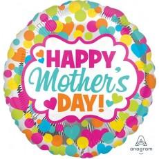 Round Jumbo HX Dots & Hearts Happy Mother's Day! Shaped Balloon 71cm