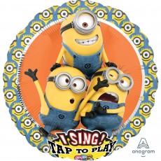 Round Minions Despicable Me Jumbo Sing-A-Tune XL Singing Balloon