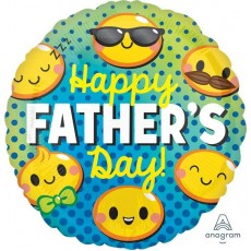 Round Standard HX Emoticons Happy Father's Day! Foil Balloon 45cm