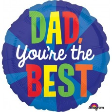 Round Father's Day Standard HX Dad You're The Best Foil Balloon 45cm