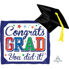 Graduation SuperShape Diploma & Hat Shaped Balloon