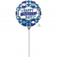 Round Standard HX Diamonds Happy Father's Day Foil Balloon 23cm