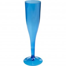 Bright Royal Blue Champagne Flute Big Party Plastic Glasses 162ml Pack of 20