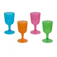 Multi Colour Neon ed Wine Plastic Glasses