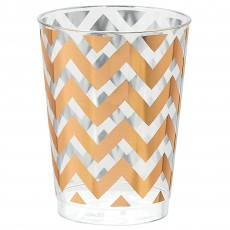 Chevron Design Rose Gold Hot Stamped Tumblers Plastic Glasses
