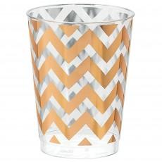 Rose Gold Chevron Design Premium Tumbler Plastic Glasses 295ml Pack of 20