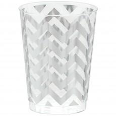 Chevron Design Silver Premium Tumbler Plastic Glasses