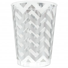 Silver Chevron Design Premium Tumbler Plastic Glasses 295ml Pack of 20