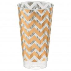 Rose Gold Chevron Design Premium Tumbler Plastic Glasses 473ml Pack of 16