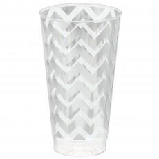 Silver Chevron Design Premium Tumbler Plastic Glasses 473ml Pack of 16