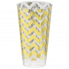 Gold Chevron Design Premium Tumbler Plastic Glasses 473ml Pack of 16