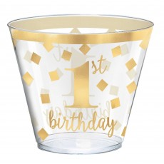 Girl's 1st Birthday Hot-Stamped Tumblers Plastic Glasses 266ml Pack of 30