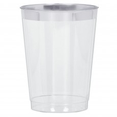 Clear Premium  with Silver Trim Tumbler Plastic Glasses