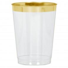 Clear Premium  with Gold Trim Tumbler Plastic Glasses