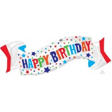 Happy Birthday Banner SuperShape Shaped Balloon