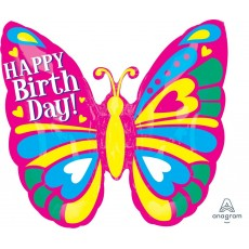 Happy Birthday Butterfly SuperShape XL ColorBlast Shaped Balloon